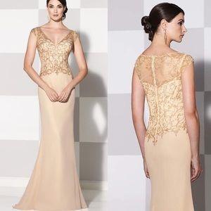Gold Cameron Blake by Mon Cheri dress size 8